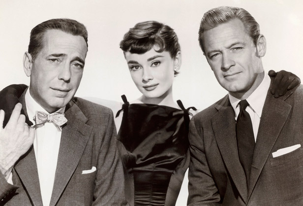 "Audrey Hepburn, Humphrey Bogart y William Holden en ""Sabrina"""