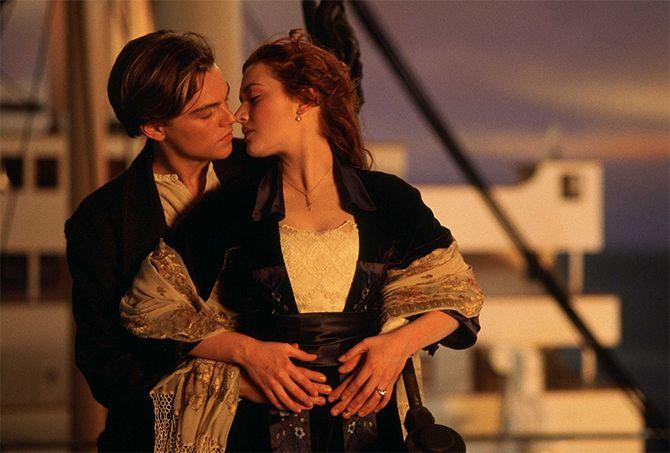 Kate Winslet y Leonardo Dicaprio caracterizados como sus personajes en Titanic
