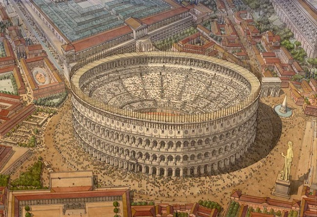 Recreación del Coliseo romano en su máximo esplendor, por Jean Claude Golvin (Academia Play)